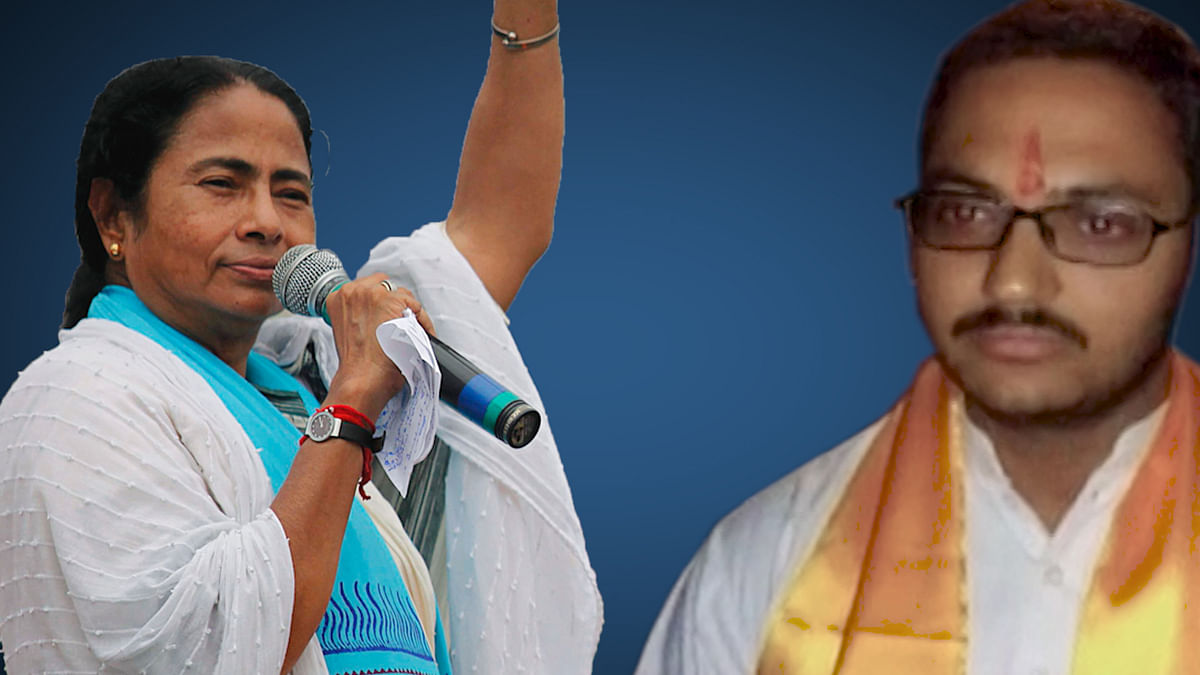 Yogesh Varshney (right) announced a bounty of 11 lakh on Mamata Banerjee's head. (Photo: T<b>he Quint</b>)