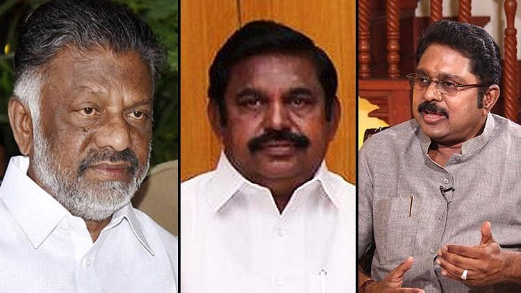 From left to right: O Panneerselvam, E Palanisamy, TTV Dinakaran (Photo Courtesy: The News Minute)