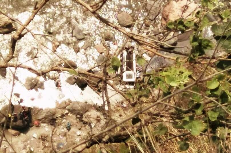 A view of the bus that fell into a river in Himachal Pradesh's Shimla district killing at least 43 passengers on 19 April 2017. (Photo: IANS)