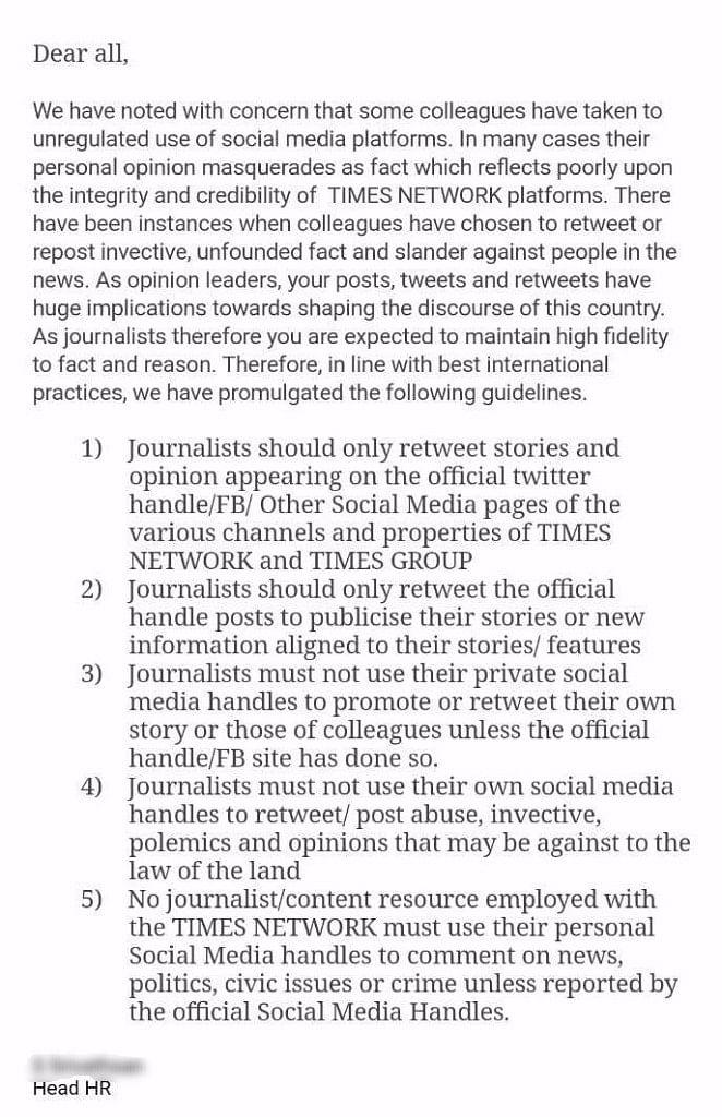 Times Network's Diktat to Control Journos' Social Media Activity