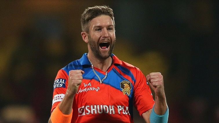 Andrew Tye celebrates after taking a wicket. (Photo: BCCI)