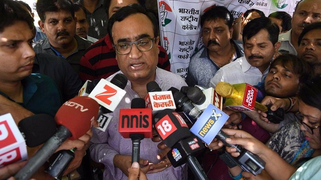 Delhi Congress chief Ajay Maken talks to press in New Delhi on 26 April 2017. (Photo: IANS)