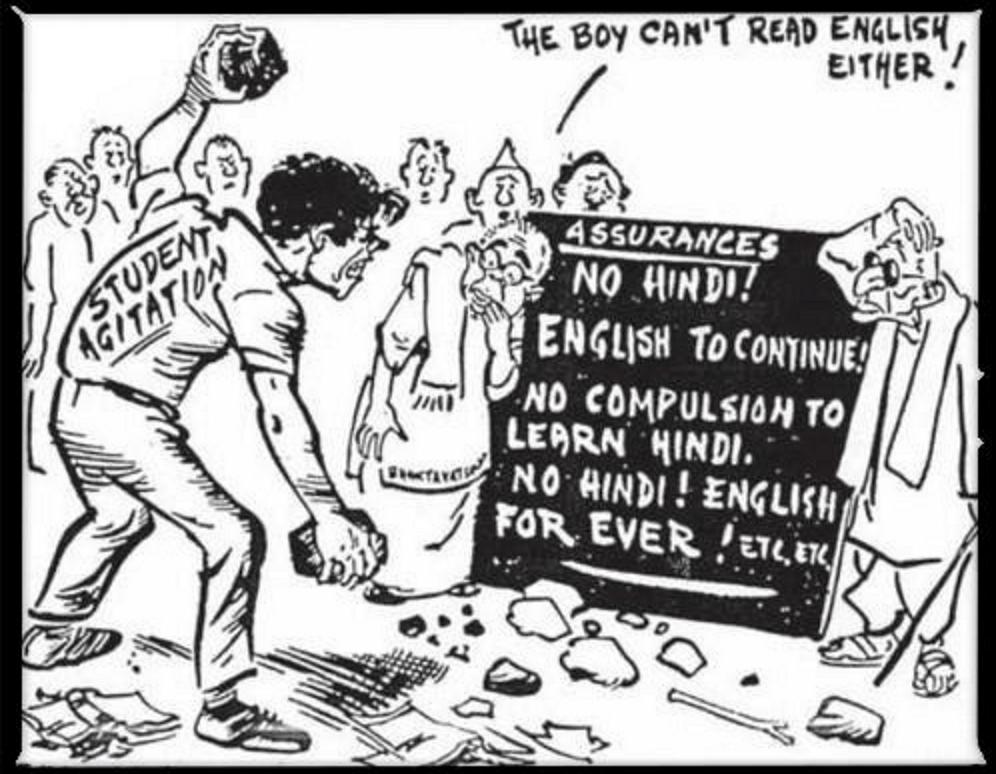 The cartoon on anti-Hindi agitations in an NCERT textbook. (Photo Courtesy: NCERT Textbook)