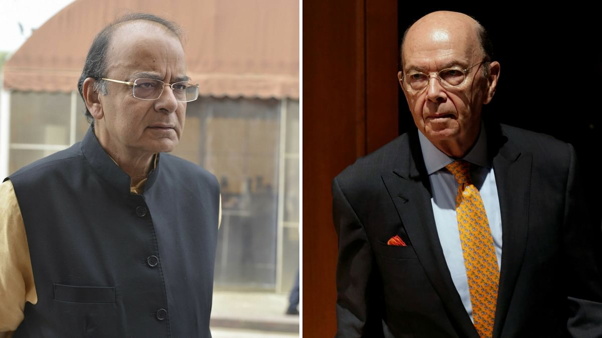 """Finance Minister Arun Jaitley has """"strongly raised"""" the H-1B visa issue with US Commerce Secretary Wilbur Ross in Washington DC. (Photo: Altered by <b>The Quint</b>)"""