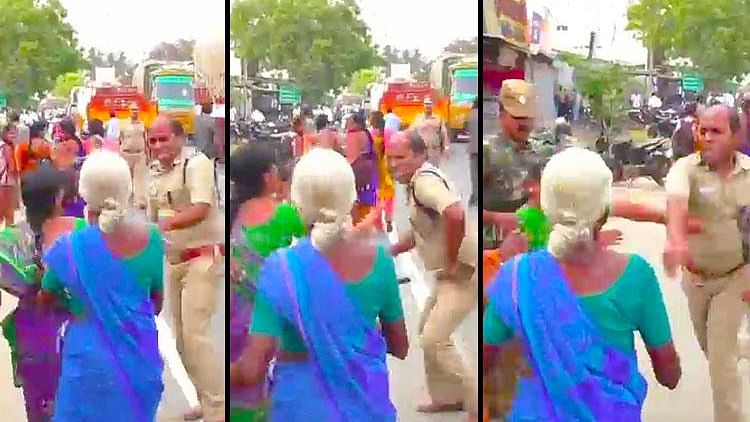 The assault video, played by Puthiya Thalaimurai, shows a police officer pushing a woman with his <i>lathi</i>, and then slapping her. (Photo Courtesy: The News Minute)