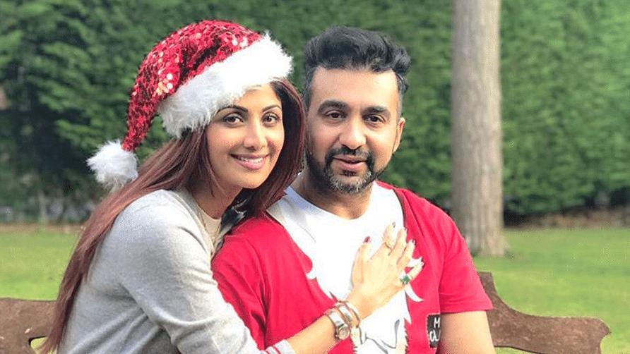 Shilpa Shetty with husband Raj Kundra. (Photo courtesy: Twitter)