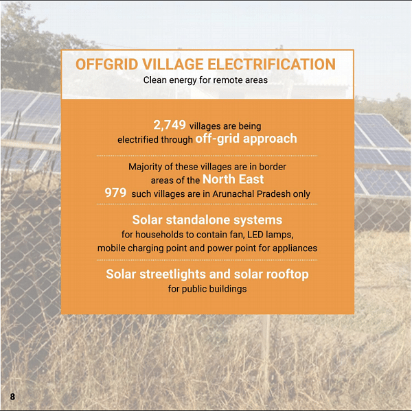 "A promotional poster explaining the various off-grid village electrification plans to be carried forward by the Ministry of Power (Graphic Courtesy: <a href=""http://ujwalbharat.gov.in/sites/default/files/Rural-Electrification-Three-Years-Achievements-(2014-17)-English.pdf"">Ministry of Power</a>)"