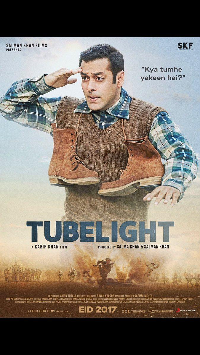 "Poster of Tubelight. (Photo courtesy: <a href=""https://twitter.com/kabirkhankk"">Twitter/KabirKhan</a>)"
