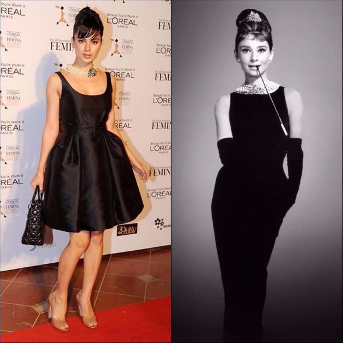 "<div class=""paragraphs""><p>The true-blue fan.Kangana Ranaut (L), Audrey Hepburn (R) </p></div>"