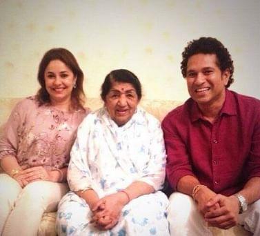 Lata Mangeshkar with Sachin and Anjali Tendulkar. (Photo courtesy: Facebook)