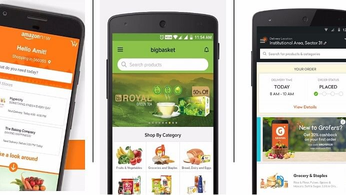 Grocery apps are battling for screen space on smartphones. (Photo: The Quint)