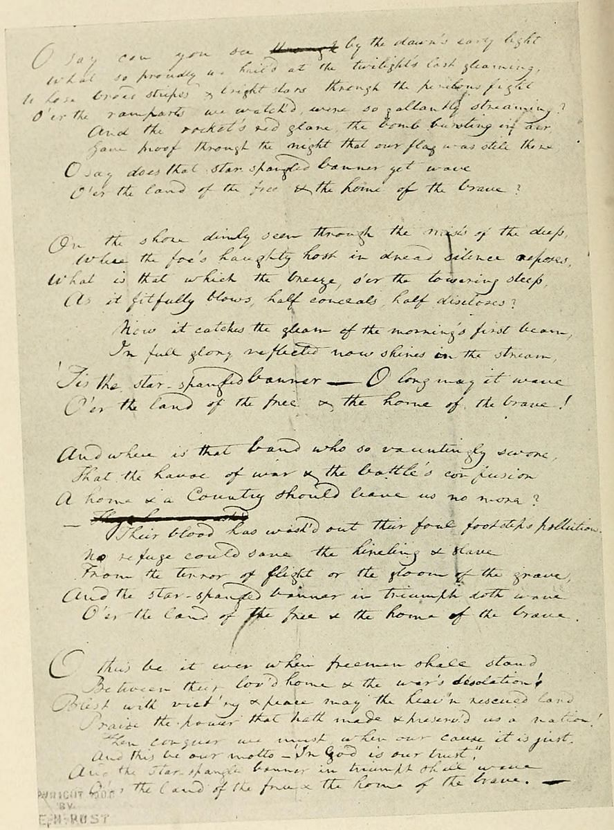 """Francis Scott Key's original manuscript copy of his 'Star-Spangled Banner' poem. It is now on display at the Maryland Historical Society. (Photo Courtesy:<a href=""""https://en.wikipedia.org/wiki/File:KeysSSB.jpg""""> Wikipedia</a>)"""