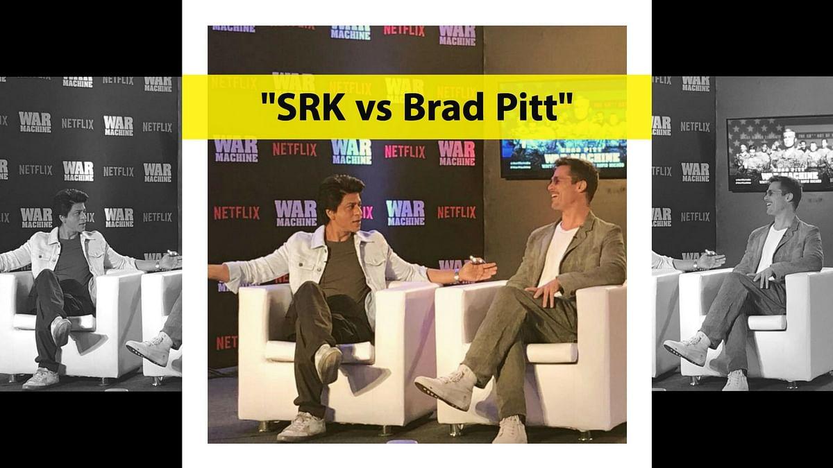 When Shah Rukh Khan met Brad Pitt. (Photo courtesy: Twitter)