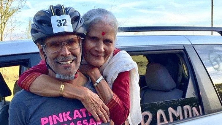 Milind Soman with his mother.
