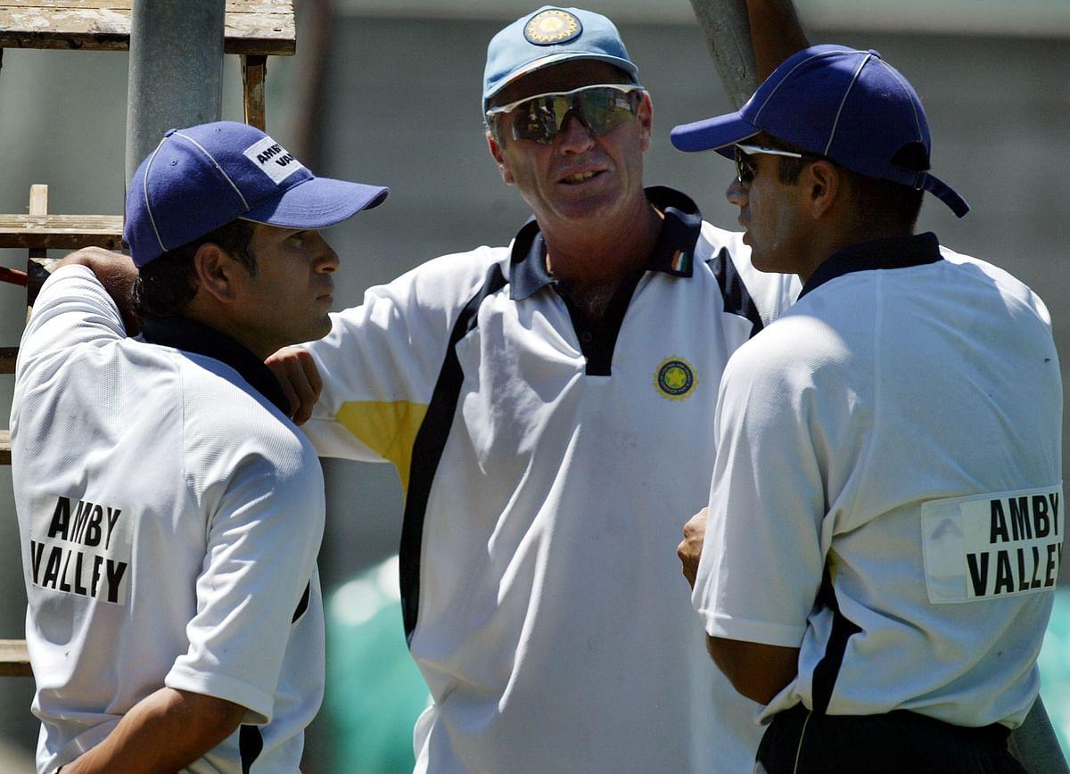 File photo of Sachin Tendulkar, Rahul Dravid and coach John Wright having a chat during a training session. (Photo: Reuters)