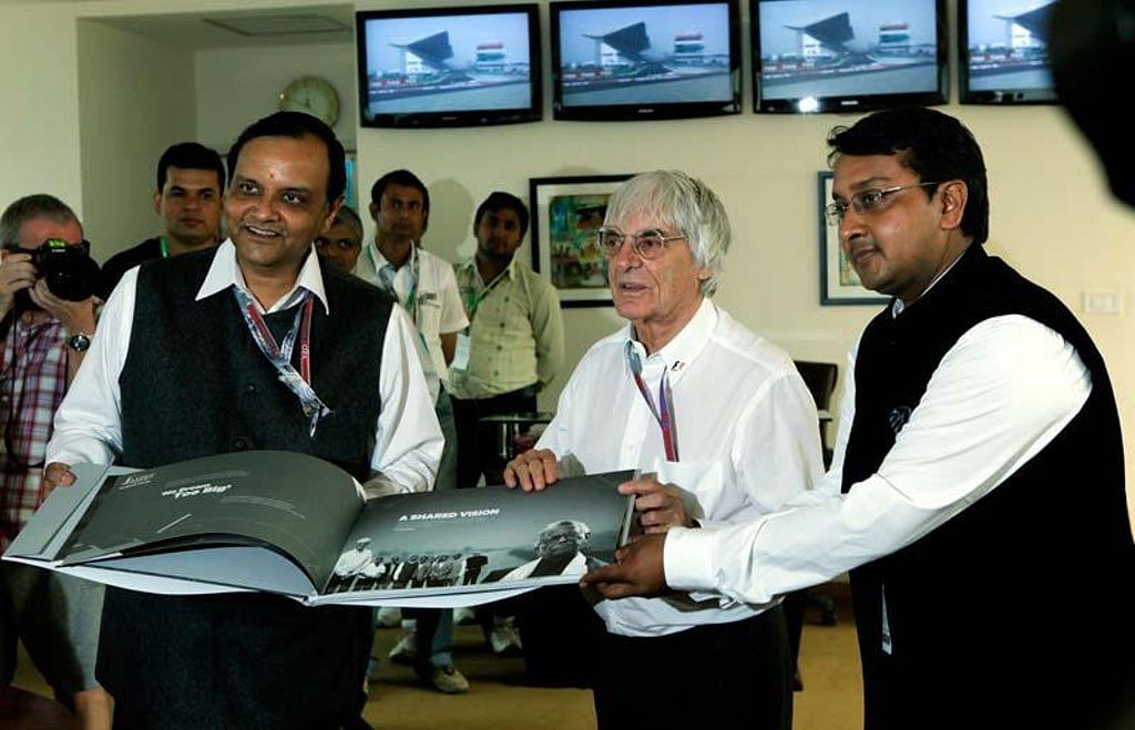 Then Formula One chief Bernie Ecclestone with Manoj Gaur and Sameer Gaur, the owners of the Buddh International Circuit on 28 October 2012. (Photo Courtesy: Buddh International Circuit)