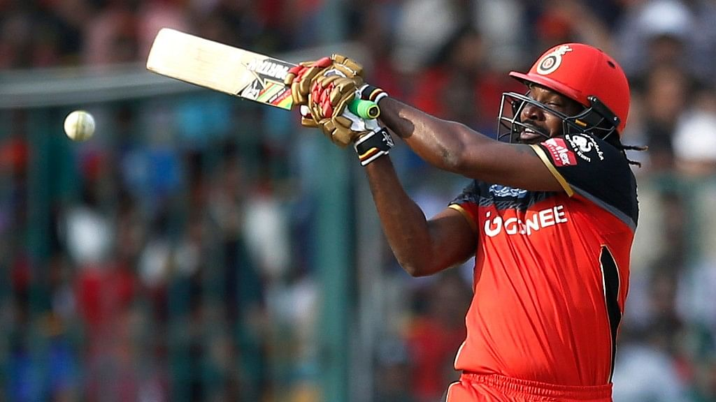 Chris Gayle plays a shot during the 10th edition of the IPL. (Photo: BCCI)
