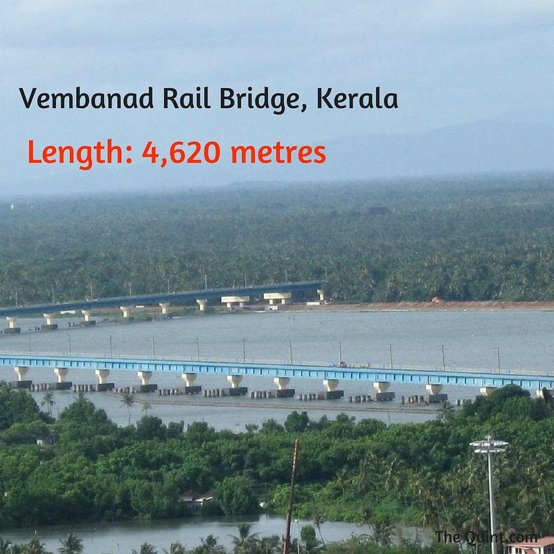 "(Photo Courtesy: <a href=""https://commons.wikimedia.org/wiki/File:Kochi_City-Vembanad_Rail_Bridge_at_Vallarpadam,_is_the_longest_rail_bridge_in_India.jpg"">Wikimedia Commons</a>/Rash)"