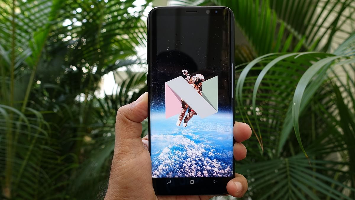 """Samsung Galaxy S8 Plus is running on Android 7.1 Nougat. (Photo: <b>The Quint</b>/<a href=""""https://twitter.com/2shar"""">@2shar</a>)"""