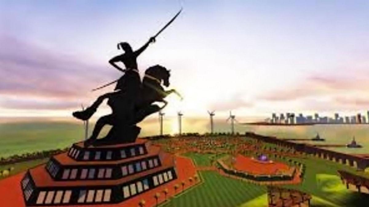 The proposed Shivaji memorial in the Arabian Sea in Mumbai, Maharashtra.