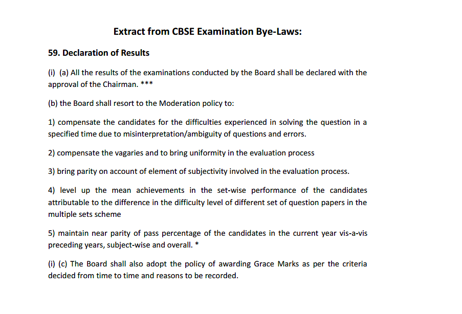 An extract of CBSE's moderation policy from the board's bye-laws. (Photo Courtesy: CBSE)