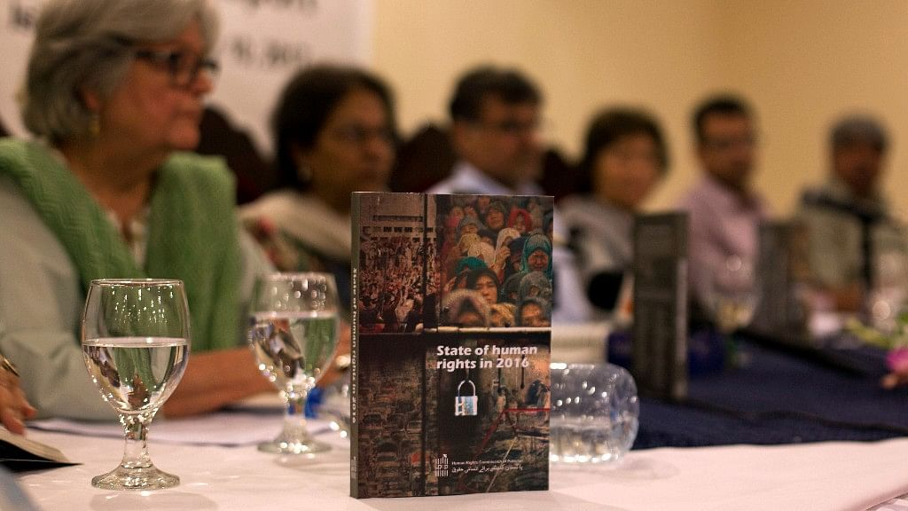 The Human Rights Commission of Pakistan presents the 2016 annual human rights report in Islamabad, Pakistan. (Photo: AP)