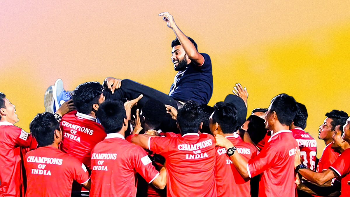 As Aizwal FC celebrated the win, one man watched from the sidelines. Just a year after being thrown out of a club, Khalid Jamil was back up on top. (Photo: Lal Zarzova/Altered by <b>The Quint</b>)