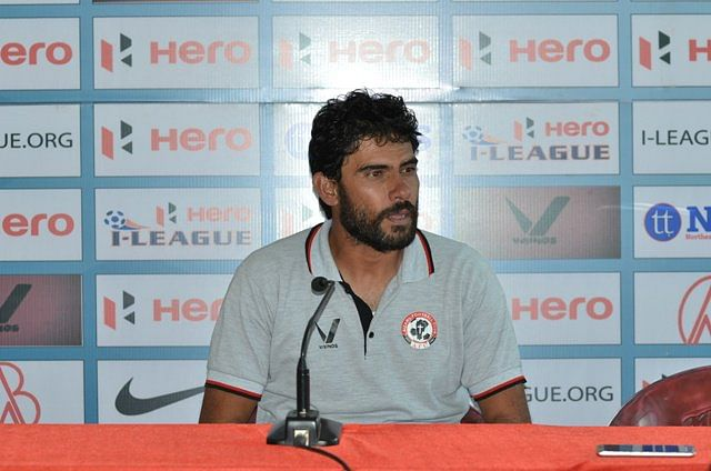 """Khalid Jamil took over the reins of Aizawl FC after being sacked from Mumbai FC. (Photo Courtesy: Twitter/<a href=""""https://twitter.com/search?f=images&amp;vertical=default&amp;q=Khalid%20Jamil&amp;src=tyah"""">@IndianFootball</a>)"""