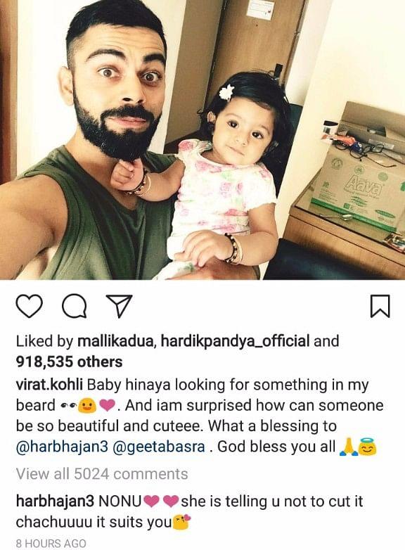 Virat Clicks Selfie With Harbhajan's Daughter Hinaya