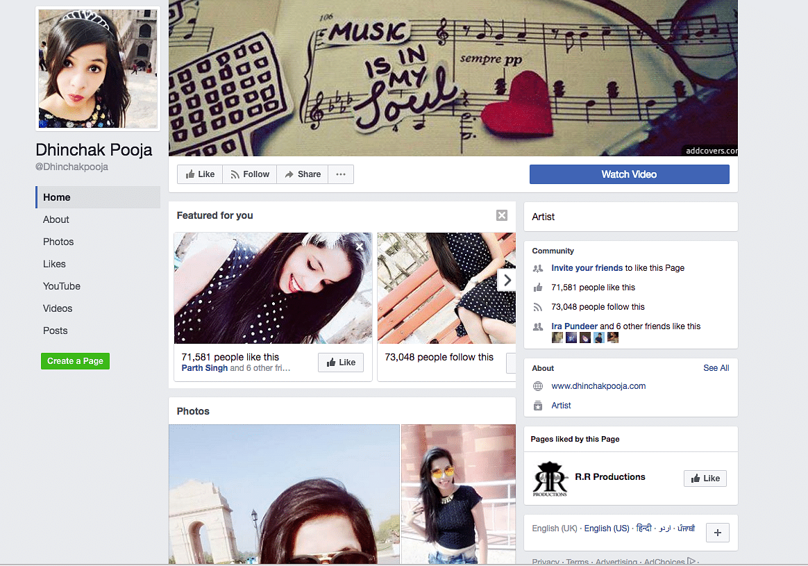"(Photo: Facebook/<a href=""https://www.facebook.com/Dhinchakpooja/"">Dhinchak Pooja</a>)"