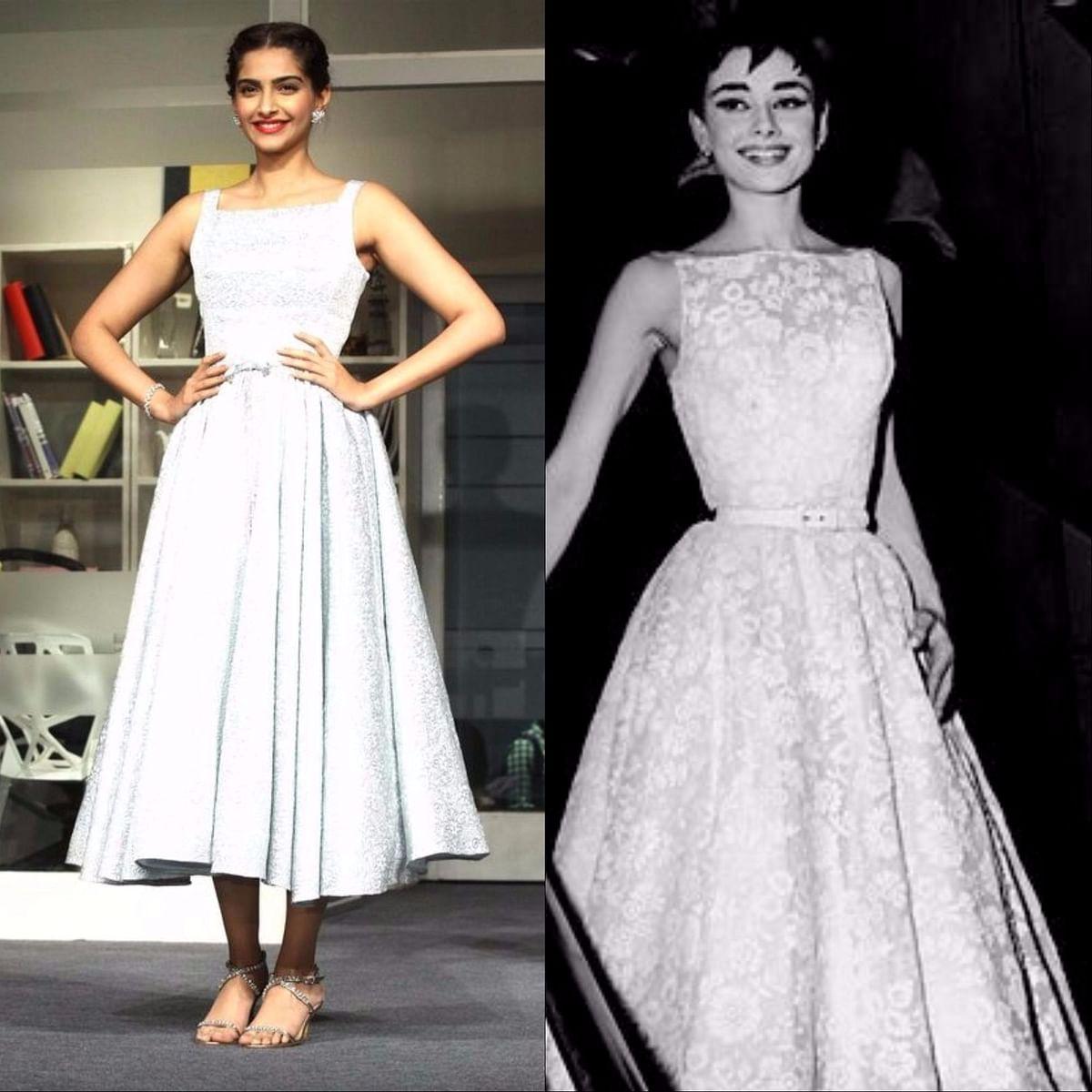"""<div class=""""paragraphs""""><p>The Oscar-worthy dress. Sonam Kapoor (L), Audrey Hepburn (R)</p></div>"""