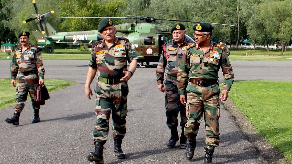 Army Chief General Bipin Rawat (left) arrives on a two-day visit to Kashmir on Monday. (Photo: PTI)