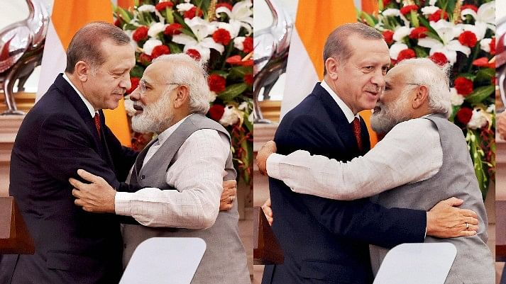 Erdogan's tactless, in-your-face, shocker reduced the extended conversation the Indian Prime Minister had planned to have with the visitor. (Photo: PTI)