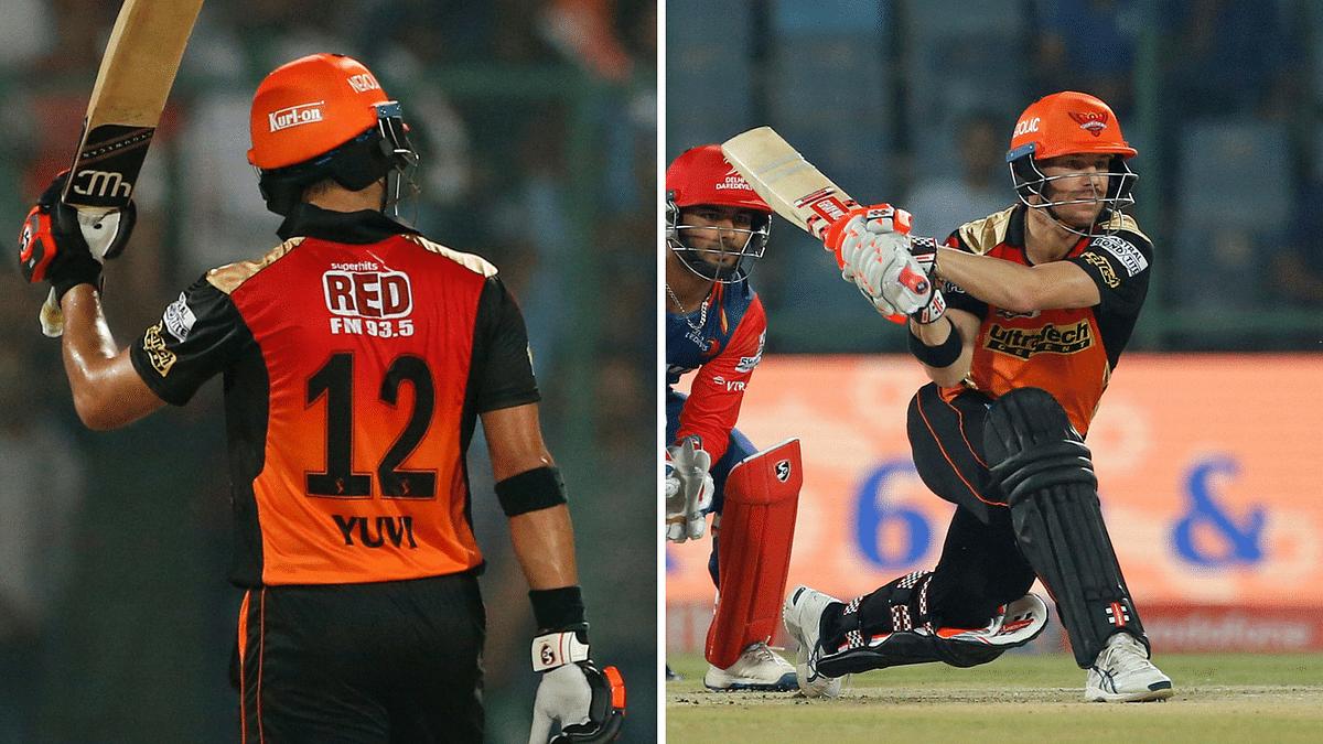 Yuvraj Singh and David Warner in action against Delhi (Photo: AP)