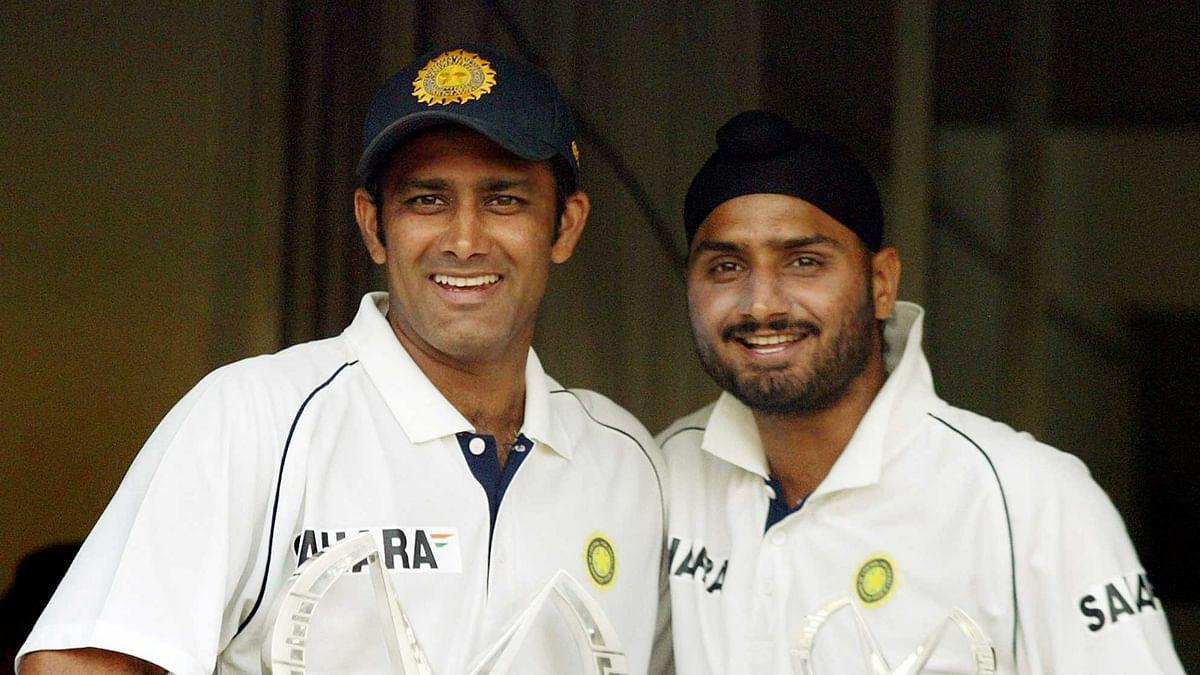 Harbhajan and Anil Kumble during India's Test series against Sri Lanka in December 2005.