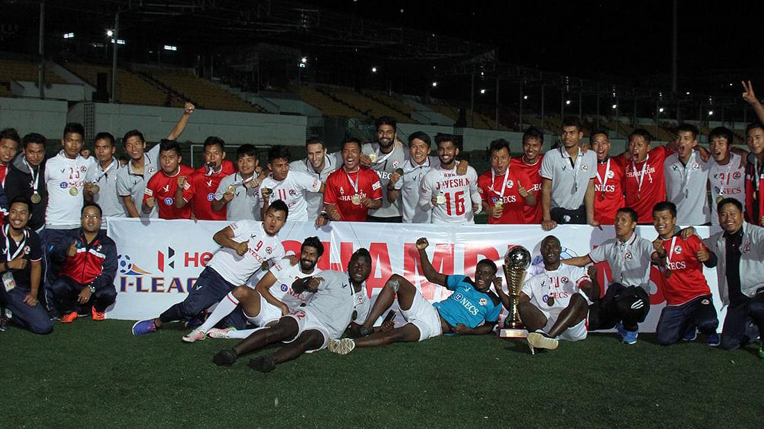 Aizawl FC team members celebrate with the iLeague trophy. (Photo: ILEAGUE fb page)