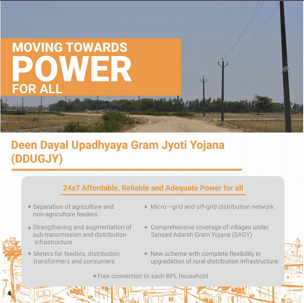 "The Promotional poster, explaining the various schemes of the Deen Dayal Upadhyaya Gram Jyoti Yojana (Graphic Courtesy: <a href=""http://ujwalbharat.gov.in/sites/default/files/Rural-Electrification-Three-Years-Achievements-(2014-17)-English.pdf"">Ministry of Power</a>)"
