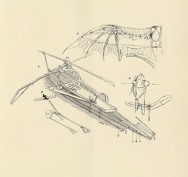 The skeletal framework and wings of his flying machine