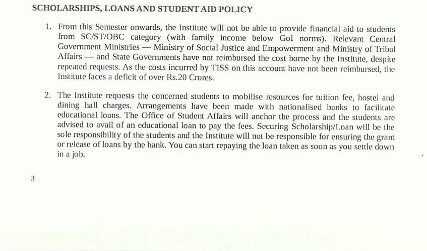 (Screengrab of the TISS circular accessed by <b>The Quint</b>)