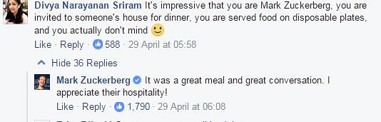 "Zuckerberg replied to a number of comments on his gracious hosts. (Photo Courtesy: Facebook/<a href=""https://www.facebook.com/zuck?ref=br_rs"">Mark Zuckerberg</a>)"