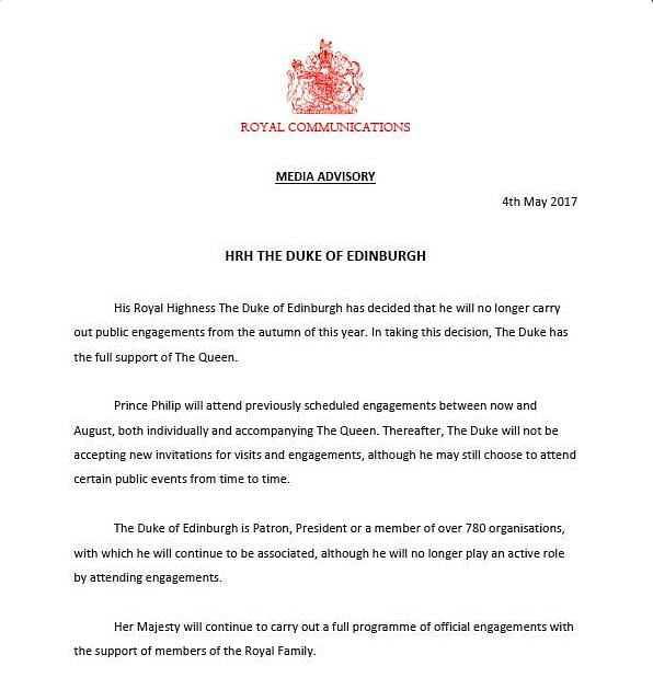 "Media advisory released by the Palace. (Photo Courtesy: Twitter/<a href=""https://twitter.com/BBCBreaking"">BBC Breaking News‏</a>)"