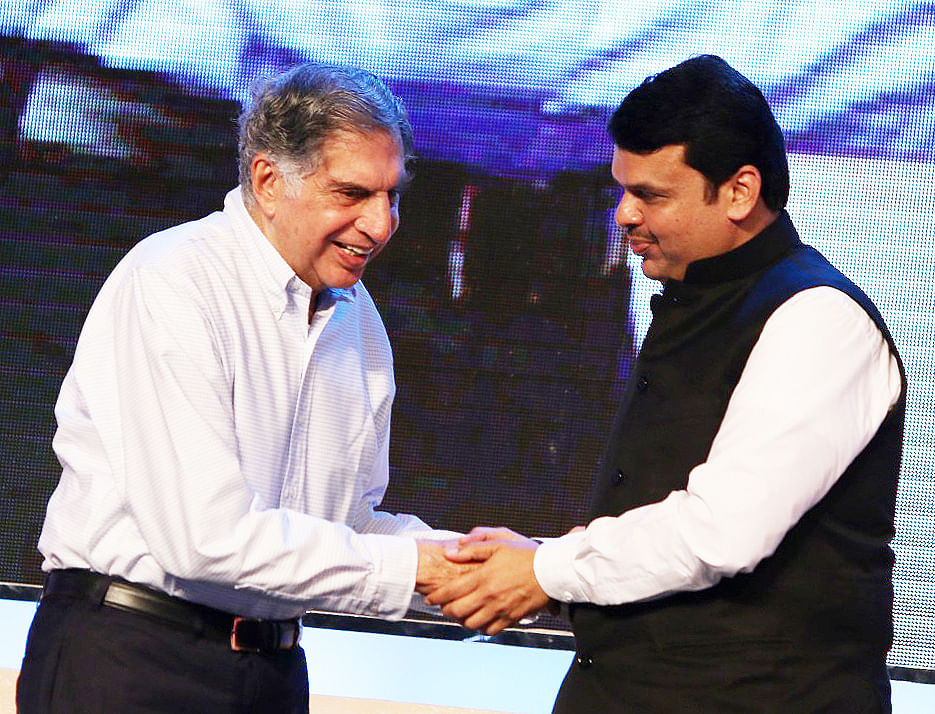 Fadnavis greets Ratan Tata. (Photo: Yogen Shah)