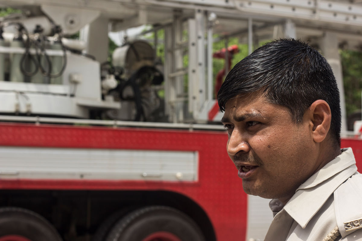 Even if I've just returned home to sleep, if the siren rings, I have to be back on duty, says Mukesh Kumar Sharma. (Photo: Abhilash Mallick)