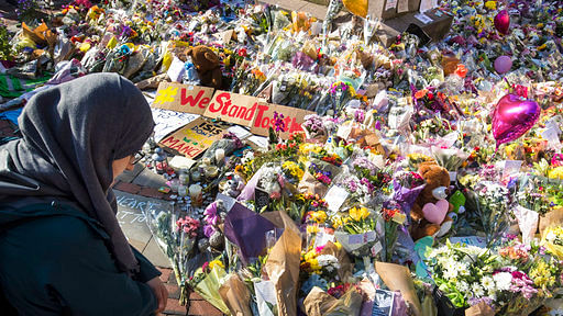 Floral tributes and messages left for the victims of the concert blast, during a vigil at St Ann's Square in central Manchester, England. (Photo: AP)