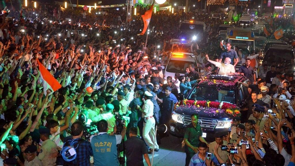 Prime Minister Narendra Modi during a roadshow in Surat on 16 April 2017. (Photo: IANS)