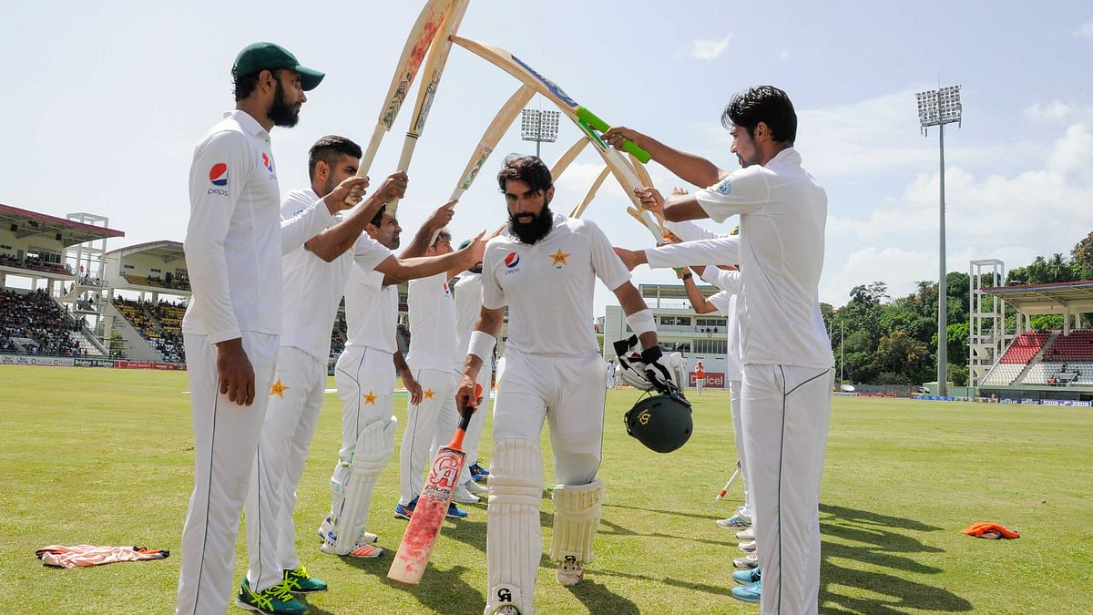 Misbah was given a guard of honour after completing his final innings for Pakistan. (Photo: WICB)