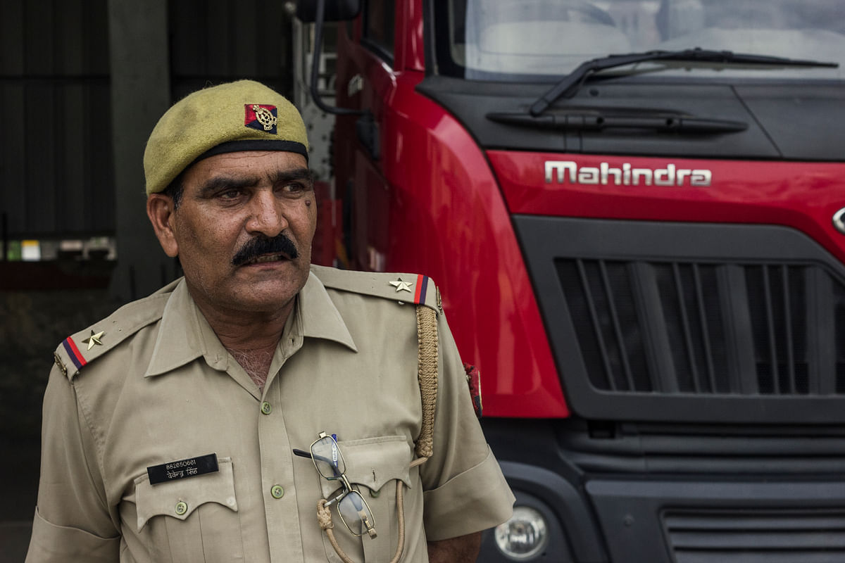 One of the senior most members of the unit, Devendra Singh has devoted 30 years of his life to the fire service. (Photo: Abhilash Mallick/<b>The Quint</b>)