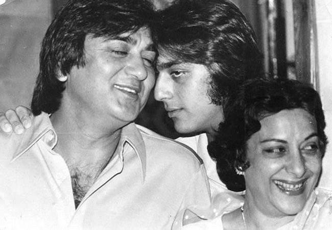 Sunil Dutt with son Sanjay and wife Nargis.