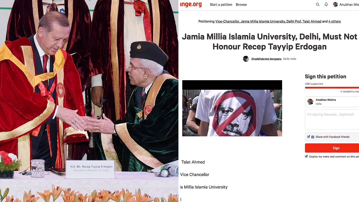 Turkish President Erdogan being felicitated at Jamia Millia Islamia on Monday and an online petition against the move (Photo: Altered by <b>The Quint</b>)