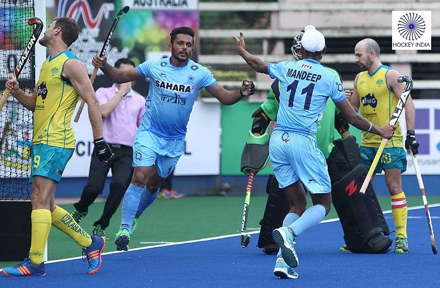 Harmanpreet Singh celebrates after scoring his goal. (Photo: Hockey India)